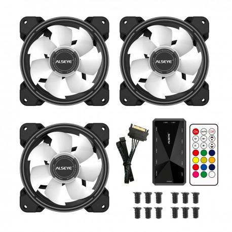 Pack 3 Ventiladores ALSEYE HALO 4.0 + Controlador ARGB + Control Remoto