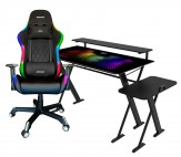 Pack Escritorio GOOD-GAME StarDust con soporte para Gabinete, Monitor e iluminación RGB + Silla RAZORBACK con Luz RGB - ONYX