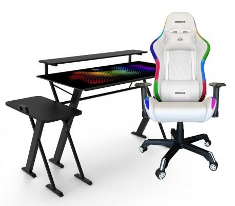 Pack Escritorio GOOD-GAME StarDust con soporte para Gabinete, Monitor e iluminación RGB + Silla RAZORBACK con Luz RGB - WHITE
